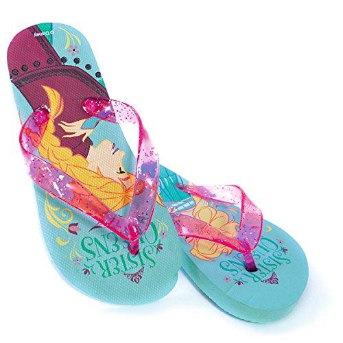 DISNEY Disney Die Eiskönigin - Zehenstegsandalen mit Elsa- & Anna-Motiv - Pink / Türkis - 25/26