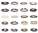 Finrezio 20 Pcs Braided Bracelet Set Women Men Beads Leather Wristbands Boho Ethnic Tribal Linen Hemp Cords Wrap Bracelets String Handmade Jewelry (Style A:20 Pcs)
