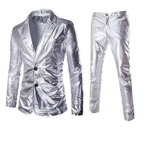 Mannen pak sets gecoat goud zilver zwart (jassen + broeken) jurk blazer huwelijksfeest glanzende kleding, A