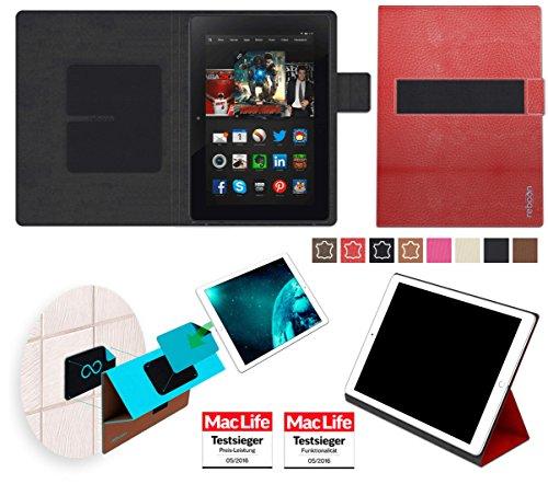 reboon Hülle für Amazon Kindle Fire HDX 8.9 Tasche Cover Hülle Bumper | in Rot Leder | Testsieger