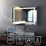 Spiegel Wandspiegel mit LED Beleuchtung 80 x 60 x 6 cm Badspiegel Lichtspiegel mit Zwei Bluetooth...