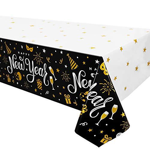 Toyvian Frohes Neues Jahr 2021 Party Tischdecke, 3Er Pack Einweg Tischdecke Party Liefert 274X137CM für Abschluss Neujahr Party Festival Urlaub