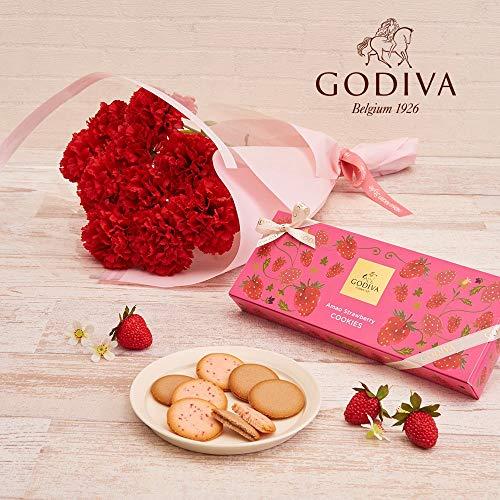日比谷花壇母の日スイーツゴディバ「あまおう苺クッキーアソートメント」とカーネーション花束のセット