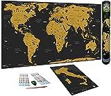WIDETA Mappa del mondo da grattare in italiano, XXL (82x43cm)/ Carta patinata extra speso ...