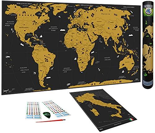 WIDETA Mappa del mondo da grattare in italiano, XXL (82x43cm)/ Carta patinata extra speso 300 g/m² e laminata con pellicola protettiva/ Bonus Mappa dell'Italia y accessori