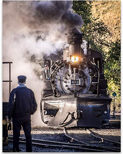 Durango & Silverton Narrow Gauge Railroad - Coming Out of the Roundhouse - 11x14 Unframed Art Print - Great Vintage Home Decor Under $15