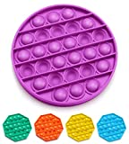 Push Pop Bubble Fidget Sensory Toy, Fidget Toys for Kids Adults, Bubble Popper Fidget Toy Stress Anxiety Relief Toys for ADHD Autism Special Needs, Fidget Popper Stress Reliever Toys - Round Purple
