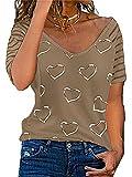 Colisha Blusa para mujer con hombros descubiertos y hombros descubiertos, manga corta, cuello en V, camiseta casual y lisa con hombros descubiertos, T-café, XXXXXL