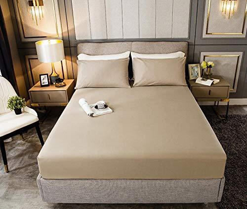 HPPSLT Protector de colchón, algodón, poliéster, Sábana de Cama de Color Puro de una Sola Pieza de algodón-Khaki_150cm × 190cm