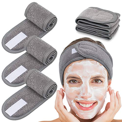 Whaline 4 Counts Spa Facial Headband Head Wrap Terry Cloth Headband Stretch Towel for Bath, Makeup and Sport (Gray)
