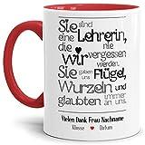 Tassendruck Lehrer-Tasse mit Spruch Eine Lehrerin, die wir nie vergessen -...