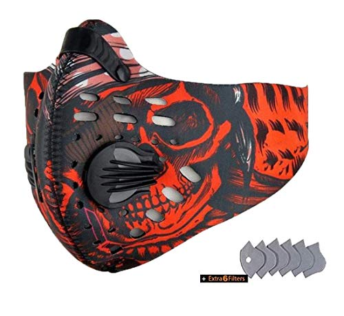 ReachTop Sport Mask with Exhalation Valves and Filters, Half Face Anti Pollution Dust Mask Reusable Dust Pollution Sports Mask with Activated Carbon Filter for Cycling Running Outdoor Activities