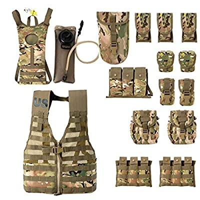 Rifleman Set,US Military Fighting Load Carrier Vest and Army FLC Pouches Multicam