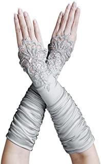 Gathered Satin Fingerless Gloves w/Floral Embroidery Lace & Sequins