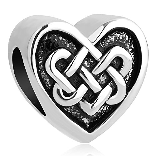 Q&Locket Celtic Knot Heart Love Charm Beads for Bracelets (Celtic Knot-3)