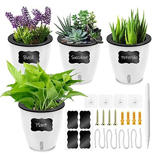 Loiion 14cm Selbstwässernder Blumentopf Kräutertopf Weiß 4er-Set, Selbstbewässerungstopf und Wasserspeicher Pflanze Blumentopf Wand Hängende Lazy Pflanzer Küchenkräuter übertöpfe für Zimmerpflanzen