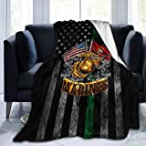 HOCLOCE Flannel Fleece Bed Throw Blanket Lightweight Cozy Plush Blanket for Bedroom Living Rooms Sofa Couch 50'x40' - Marine Corps Gold Globe Patriotic