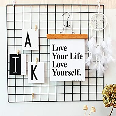 Kleanner Metal Wire Mesh Grid Panel,Mesh Memo Board Wall Art Display & Hanging Organizer ,Pack of 2 Pcs,Square Size:23.6  x 23.6 ,Black