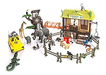 Constructive Playthings CP Toys 55 pc Jungle Animal Rescue Playset with 5 Action Figures and Safari Jeep