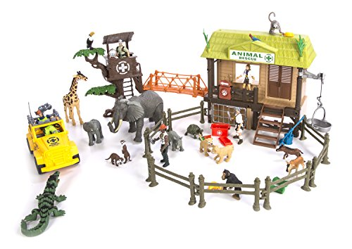 Constructive Playthings CP Toys 55 pc. Jungle Animal Rescue Playset with 5 Action Figures and Safari Jeep