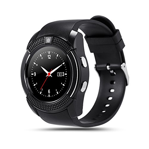 GEZICHTA V8 - Smart Watch Fitness Tracker - SD Karte, SIM Karte, Smartwatch, Telefon, Schrittzähler, Schlafüberwachung, Gehdistanz, Wireless Smart Armband für Android Handys, Schwarz