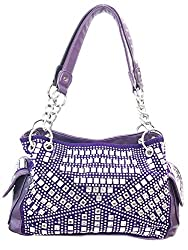 Gem Studded Rhinestone Concealed and Carry Purple Purse