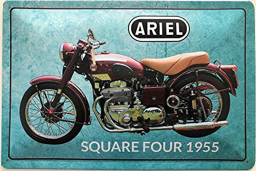 Deko7 blikken bord 30 x 20 cm motorfiets Ariel SquareFour 1955