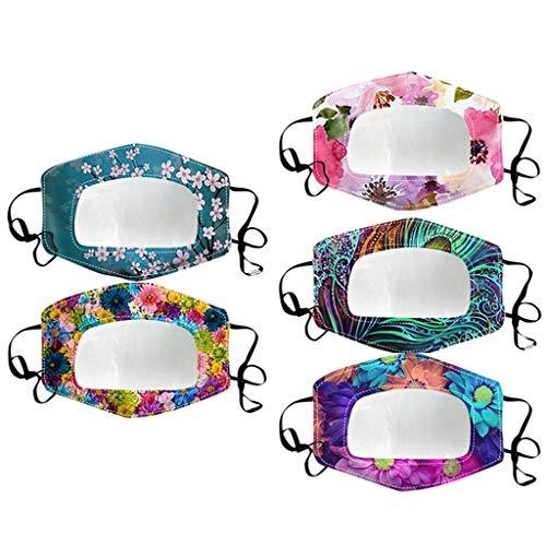 N / A Bixmox 5 pcs Adultos Reutilizables Pañuelos con Banda Elástico para al Aire Libre sordo Mudo Labios Labio Margarita impresión Transparente
