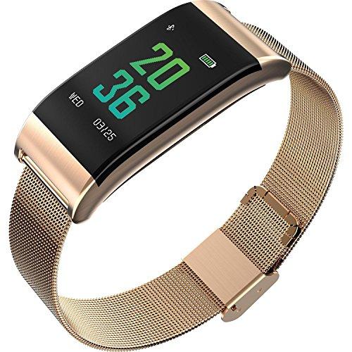 CNMD Multifunktionale Smartwatch Herzfrequenz Blutdruck Schlafschrittzähler IP67 wasserdicht-Gold