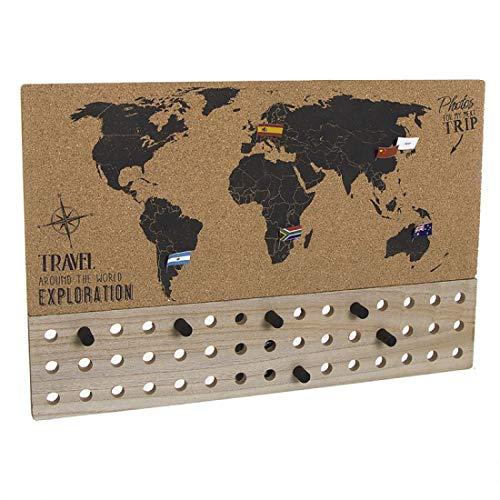 Home Gadgets Mapa Corcho con Banderitas Travel 60x40 cm
