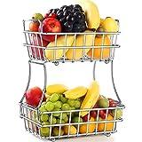 TomCare 2-Tier Fruit Basket Metal Fruit Bowl Bread Baskets Detachable Fruit Holder kitchen Counter...