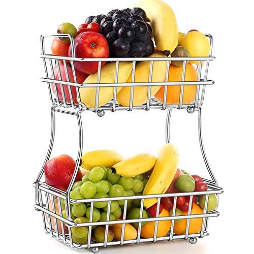 TomCare 2-Tier Fruit Basket Metal Fruit Bowl Bread Baskets Detachable Fruit Holder kitchen Counter Organizer Storage Baskets Stand - Screws Free Design for Fruits Breads Vegetables Snacks, Silver