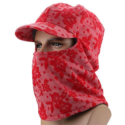 KCCCC Gorras de Esquí de Invierno A Prueba de Viento de esquí máscara de la máscara Facial del Tiempo frío for el esquí Motociclismo Deportes de Invierno Sombrero Cálido (Color : Red, Tamaño : L)