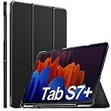 ELTD Hülle für Samsung Galaxy Tab S7 Plus,Lightweight Flip mit Ständer & Eingebautem Magnet Hochwertiges PU Leder Schutzhülle für Samsung Galaxy Tab S7+ / S7 Plus 12,4 Zoll 2020, Schwarz
