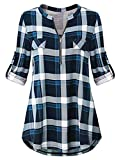 Odosalii Womens Zip Up Plaid Tunic Blouse Rolled Up Sleeve Polo Top Check Shirts, M, blue