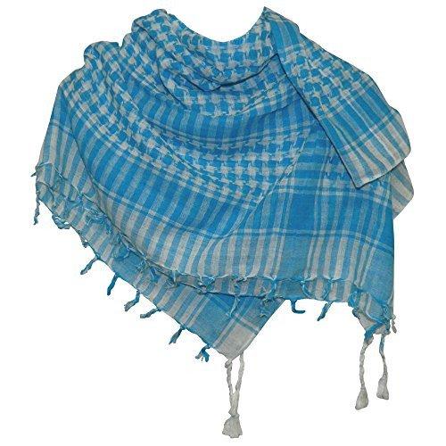 Palestijnse sjaal turkoois wit 100 x 100 cm wattenstaafje Katoenen doek accessoire