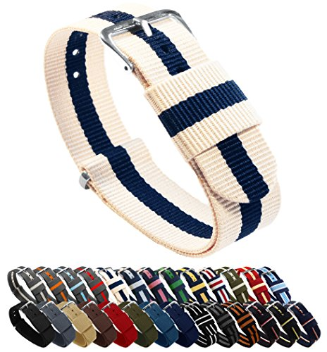 20mm Linen/Navy Standard Length- BARTON Watch Bands - Ballistic Nylon NATO Style Straps