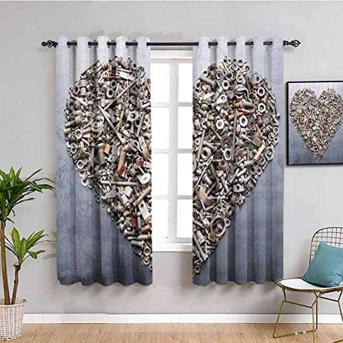 Colección de decoración industrial con cortinas opacas impresas para tuercas y pernos de dormitorio en forma de corazón Equipos de ingeniería de construcción de arte rústico Protección de privacidad metálica gris plateado 84 x 84 pulgadas