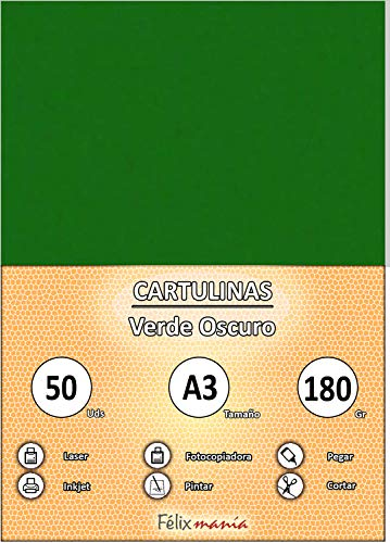 Cartulinas A3 Verde Marca FELIXMANIA