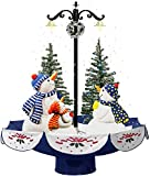 "Fraser Hill Farm 29"" Musical Snowman Family Scene with Blue Umbrella Base and Snow Function Christmas Decoration"
