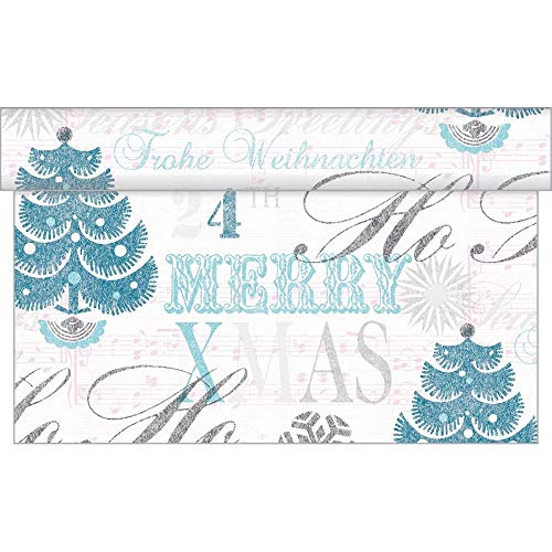 Sovie Home Tischläufer   Xmas Weihnachten Tischdeko   aus Linclass® Airlaid   40 cm x 4,80 m   1 Stück   Xmas-Greetings (Türkis)