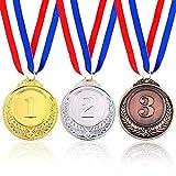 Medallas de Oro, Plata, Bronce, para Ceremonias de premiación, Suministros para Fiestas (Paquete de 3)