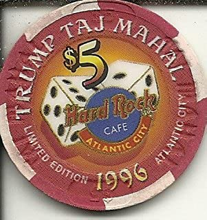 $5 trump taj mahal grand opening hard rock cafe casino chip atlantic city new jersey