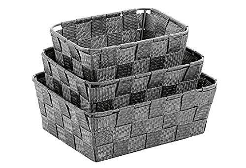 Kela Korb-Set 3-teilig, Alvaro, Unterschiedliche Größen, PP-Faserband, 323027, Grau