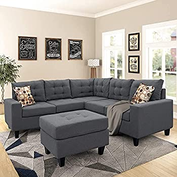COODENKEY L Shape Sofa Set Sectional Couch for Living Room with Ottoman and 2 Pillows Gray