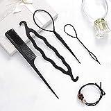 genglass topsy hair tail tools kit di strumenti per treccia di capelli neri set di strumenti per lo styling della coda di cavallo accessori per capelli per donne e ragazze (4 pezzi)
