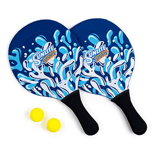 Sunlite Sports Beach Paddle Game Set, 2 Paddles and 2 2 Balls, Perfect for Backyard Fun or Outdoor or Beach or Lawn., Blue