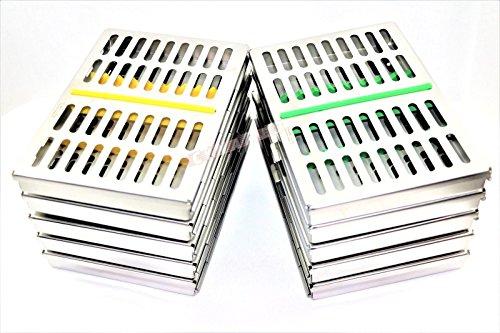 Set of 10 Premium German Dental Surgical Autoclave Sterilization Cassettes Rack Box for 10 Instruments Cynamed