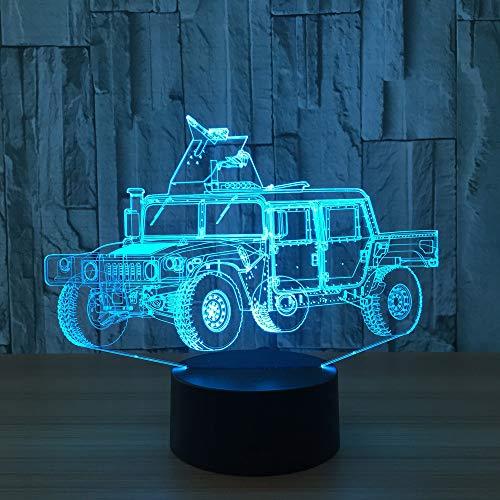 Voiture Classique Vintage 3D Lampe Veilleuse Optique Illusions 7 Changement de Couleur Acrylique Toucher Tableau Lampe de Bureau pour Enfants Chambre Noël Cadeaux d'anniversaire,Interrupteur Tactile