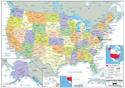 Wildgoose Education wg3525Estados Unidos mapa político, 84cm x 59cm